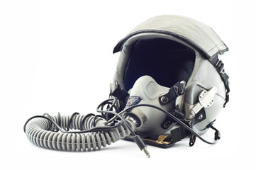 Flight helmet with oxygen mask.