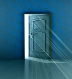 god salvation behind blue wall and opened door poster
