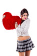 beautiful girl with red heart