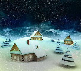 Mountain village enviroment at winter snowfall