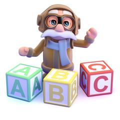 Pilot teaches the alphabet