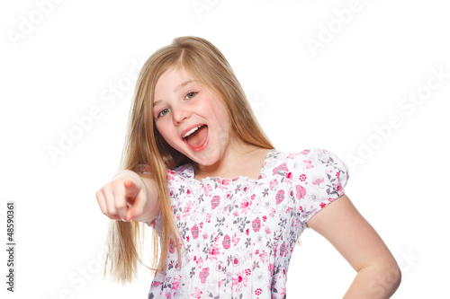 young girl pointing at you