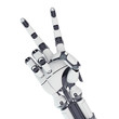 Isolated robotic arm showing victory on white background