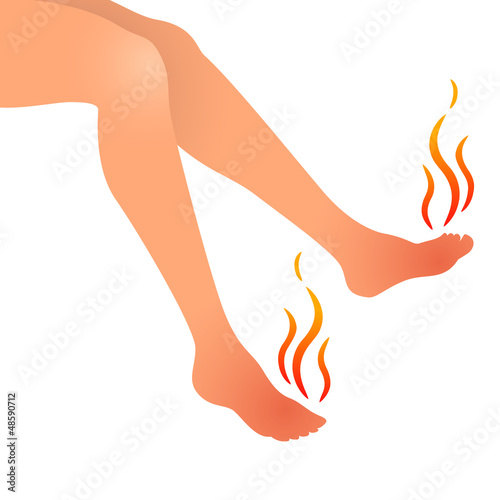 Woman swollen feet pain