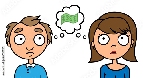 Poor couple thinking about money