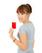 Isolated Young Asian Woman With a Credit Card