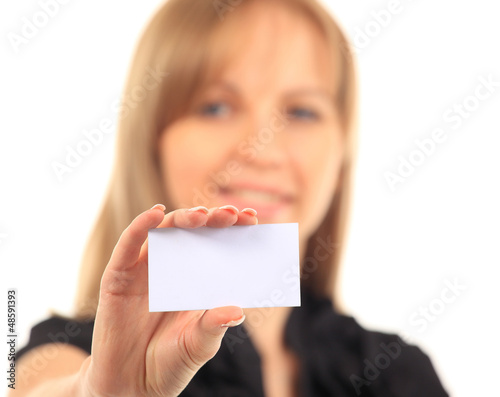 Girl in a business card - isolated over a white background
