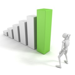 bemused 3d man with success business bar chart