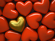 Red  hearts and one gold heart isolated on background