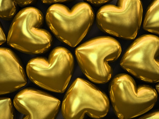 Gold hearts isolated on background