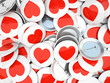Buttons wirh red  hearts isolated on background