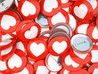 Buttons with white hearts isolated on background
