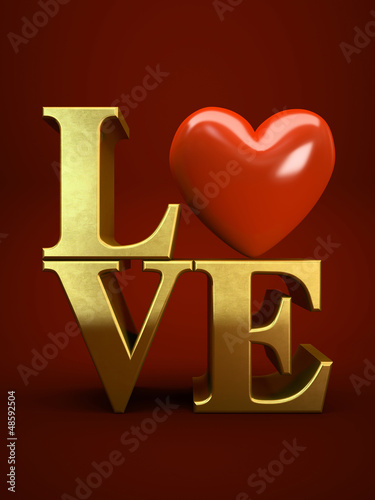 Gold letters LOVE isolated on red background illustration