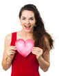 Beautiful happy woman holding a love heart