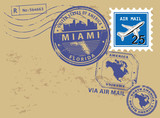 Post stamps set with name of Florida, Miami, vector illustration