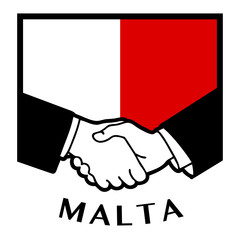 Malta flag and business handshake, vector illustration