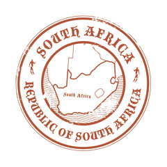 Stamp with the name and map of South Africa, vector illustration