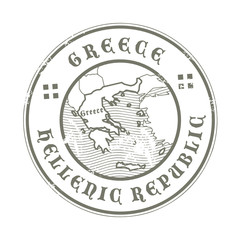 Grunge rubber stamp with the name and map of Greece, vector