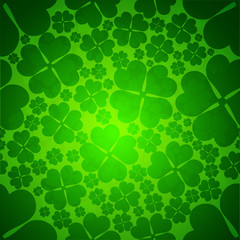 Irish four leaf lucky clovers seamless background for Happy St.