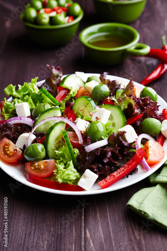 Mediterranean-style salad with Sant Agostino Olives