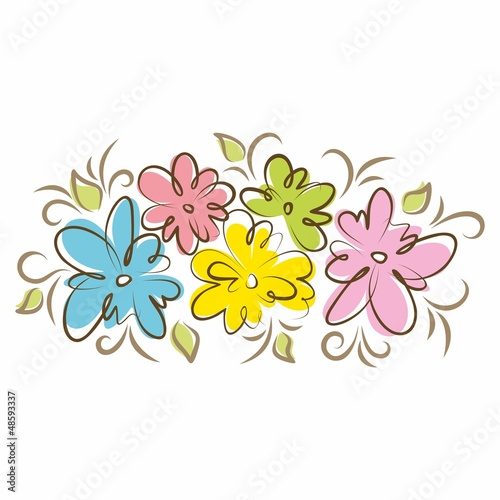 Tuinposter Abstract bloemen Bouquet of beautiful flowers. Hand drawn vector illustration.