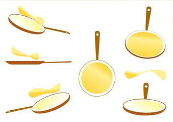 Poêles avec crêpes - multipositions - Chandeleur