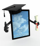 tablet pc with arms, Graduation Cap and Diploma