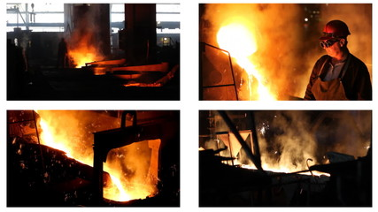 Hard work in a Foundry, split screen