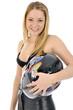 Junge Frau mit Motorradhelm