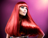 Fototapety Healthy Straight Long Red Hair. Fashion Beauty Model