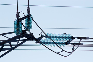 Glass insulators on high voltage power line
