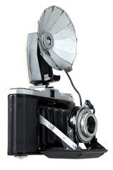 Vintage folding camera with bulb flash ,  isolated