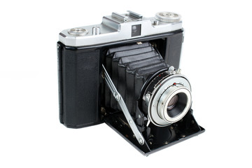 Vintage folding camera for 120 roll film , isolated
