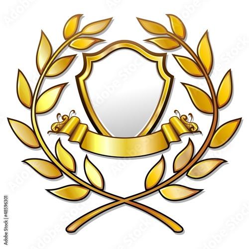 Golden Award Template sith Laurels-Stemma d'Oro in Corona Allor