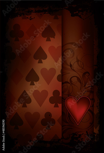 Hearts Poker card in retro style, vector illustration