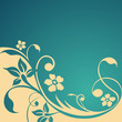 Flowers on blue ground - vector template
