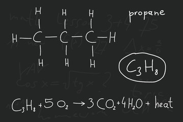 Propane chemical compound - school doodle