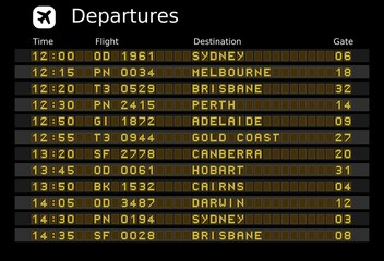 Australia airports - departure board vector