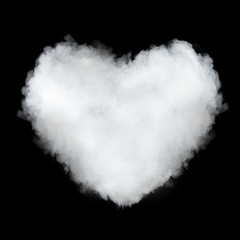 heart shaped cloud isolated on black