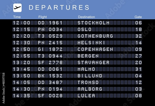 Nordic destinations, departures board vector
