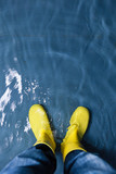 rubber boots in the water - climate concept poster