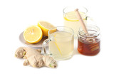 Ginger tea with honey and lemon