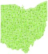 Map of Ohio - USA - in a mosaic of green squares