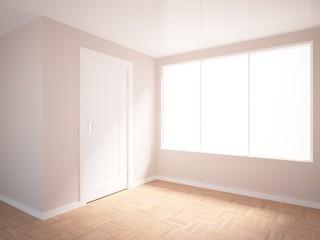 empty interior with white door