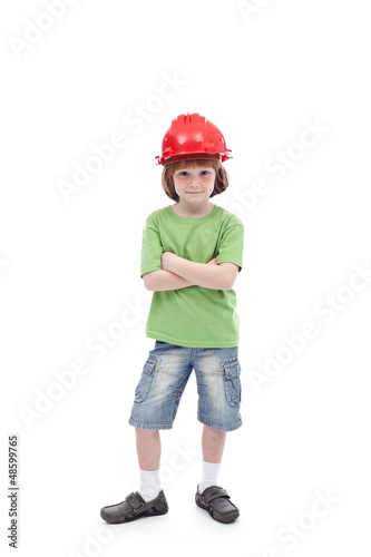 Proud child with his father hard hat