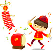 boy play drum  Chinese New Year