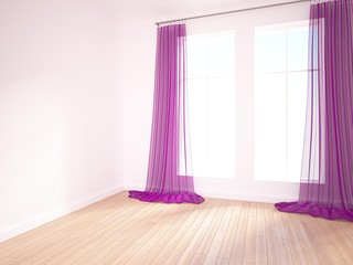 empty interior with purple curtains