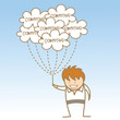 cartoon character of man holding cloud computing