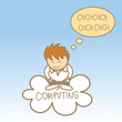 cartoon character of man sit on cloud computing