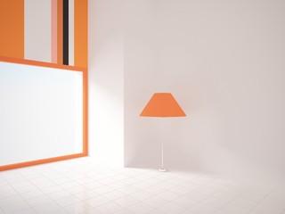 empty room with an orange lamp